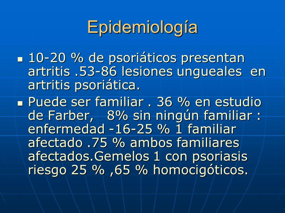 Epidemiología 10-20 % de psoriáticos presentan artritis.53-86 lesiones ungueales en artritis psoriática.