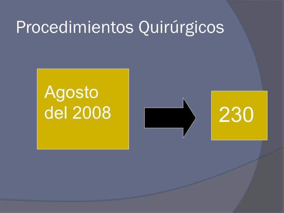 Procedimientos Quirúrgicos Colecistectomías 60 (%) Funduplicaturas 45 (%) Apendicectomías 27 (%) Plastias Inguinales 24(%) Plastías Umbilicales 5 (%) Hemorroidectomías 10 (%) Mastectomías 2 (%) By-Pass Gastricos 2 (%) Hemicolectomías 8(%)