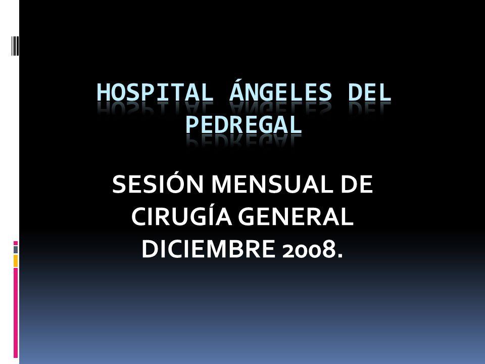 HOSPITAL ÁNGELES DEL PEDREGAL SERVICIO DE CIRUGÍA GENERAL FUNDUPLICATURA (n = 34) ENDOSCOPIA: GI: 0 GII: 12 GIII: 18 GIV: 2 BARRETT: 2 MANOMETRÍA: 15 < 10 mmHg.