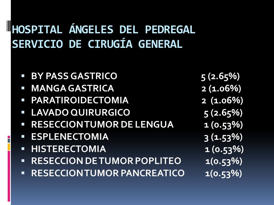 HOSPITAL ÁNGELES DEL PEDREGAL SERVICIO DE CIRUGÍA GENERAL BY PASS GASTRICO 5 (2.65%) MANGA GASTRICA 2 (1.06%) PARATIROIDECTOMIA 2 (1.06%) LAVADO QUIRU