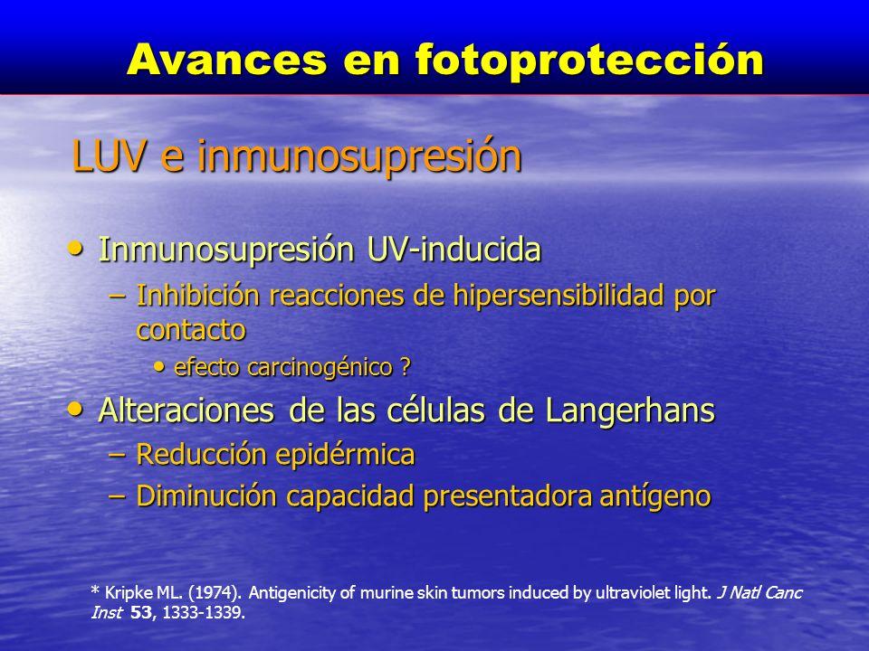 Inmunosupresión UV-inducida Inmunosupresión UV-inducida –Inhibición reacciones de hipersensibilidad por contacto efecto carcinogénico ? efecto carcino