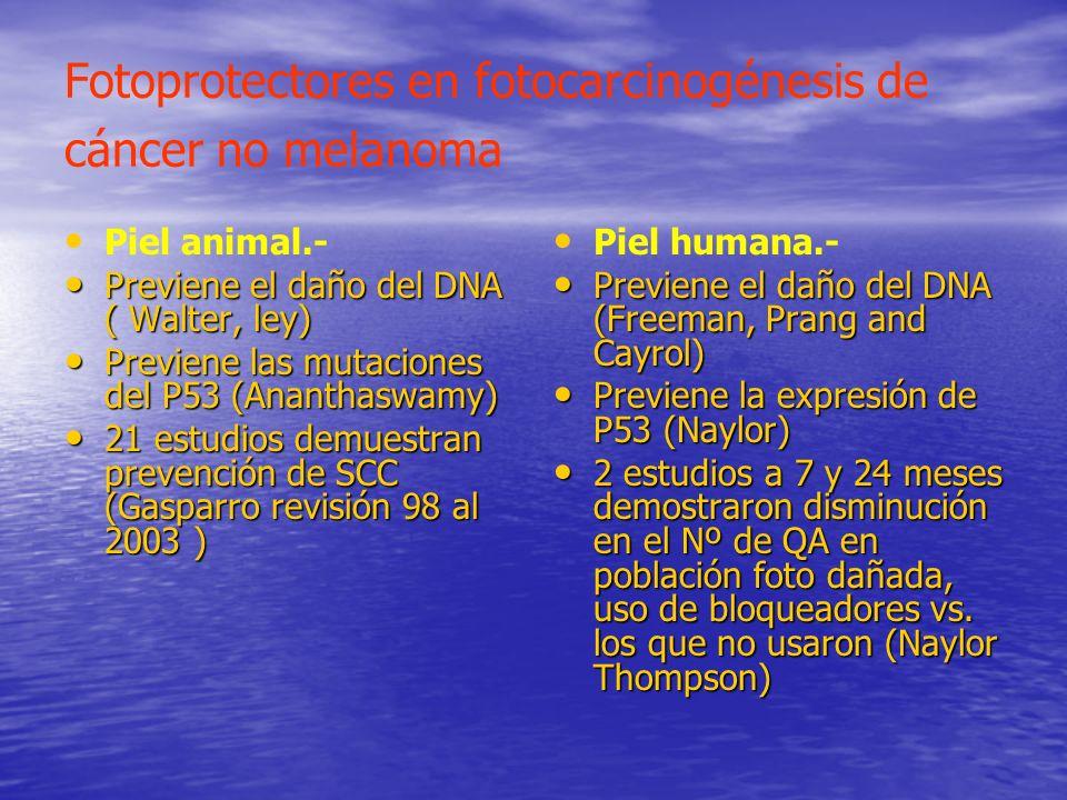 Fotoprotectores en fotocarcinogénesis de cáncer no melanoma Piel animal.- Previene el daño del DNA ( Walter, ley) Previene el daño del DNA ( Walter, l