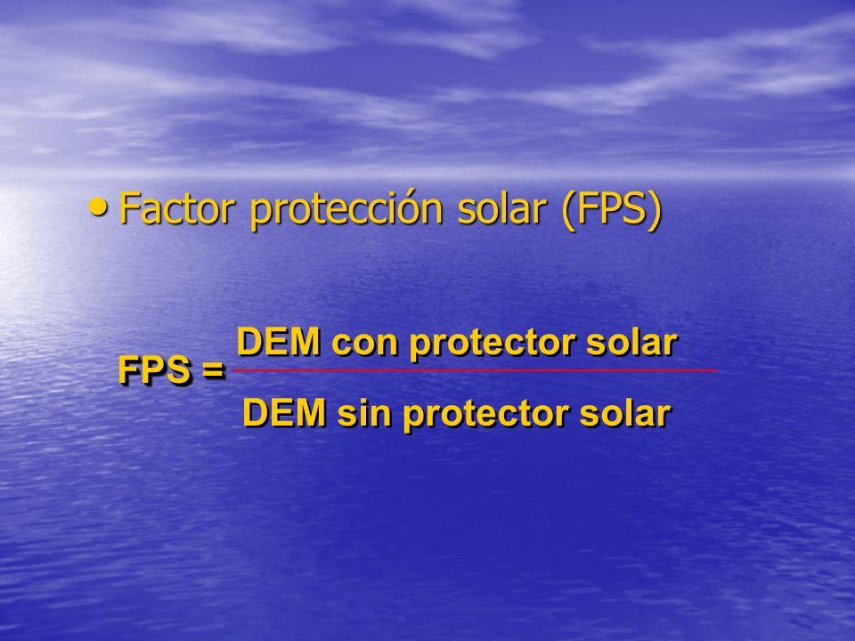 Factor protección solar (FPS) Factor protección solar (FPS) FPS = DEM con protector solar DEM sin protector solar