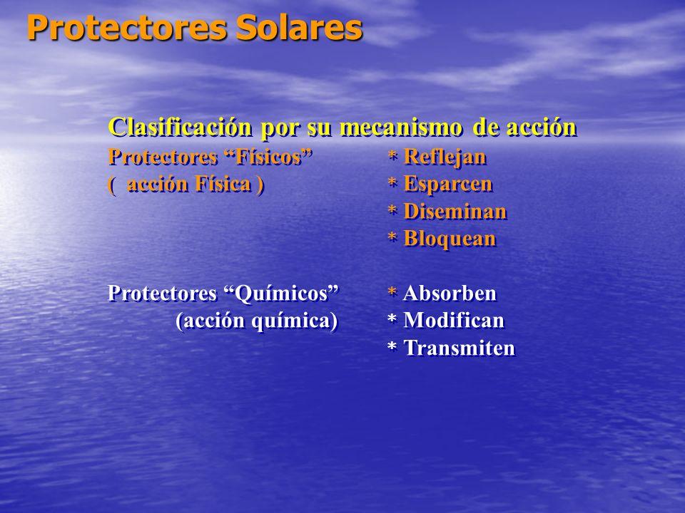 Protectores Solares Clasificación por su mecanismo de acción Protectores Físicos * Reflejan ( acción Física ) * Esparcen * Diseminan * Bloquean Protec