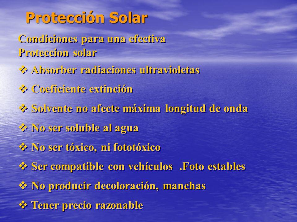 Protección Solar Condiciones para una efectiva Proteccion solar Absorber radiaciones ultravioletas Coeficiente extinción Solvente no afecte máxima lon