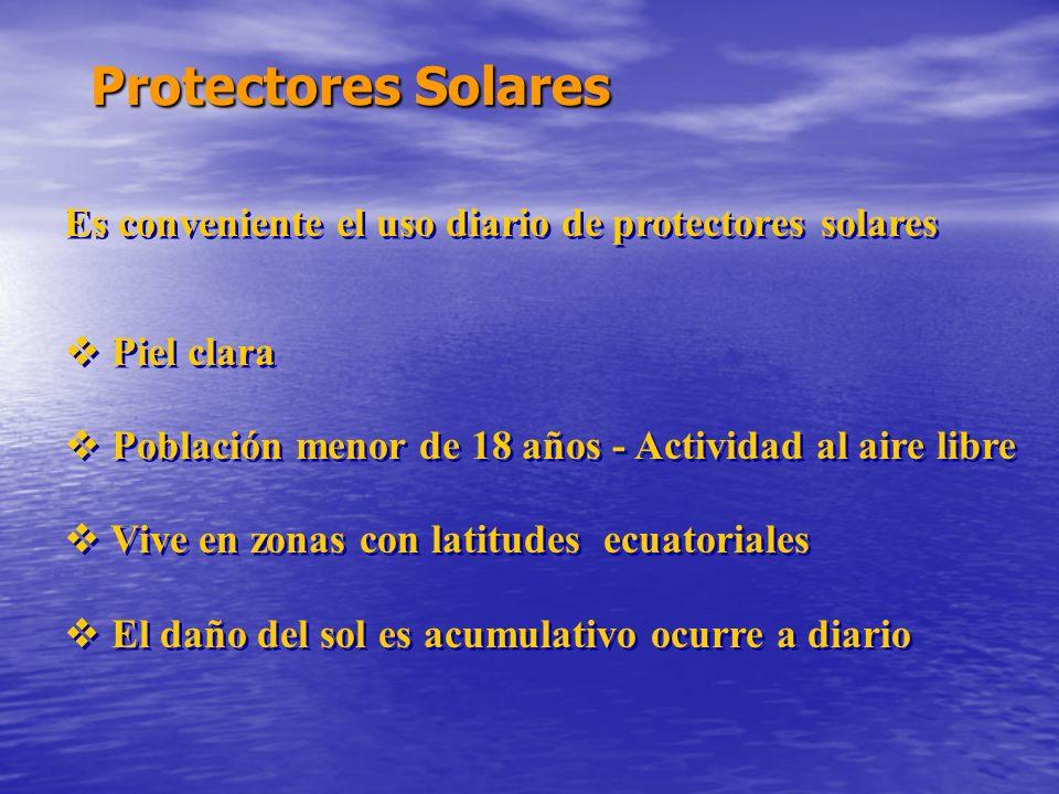 Protectores Solares Es conveniente el uso diario de protectores solares Piel clara Población menor de 18 años - Actividad al aire libre Vive en zonas