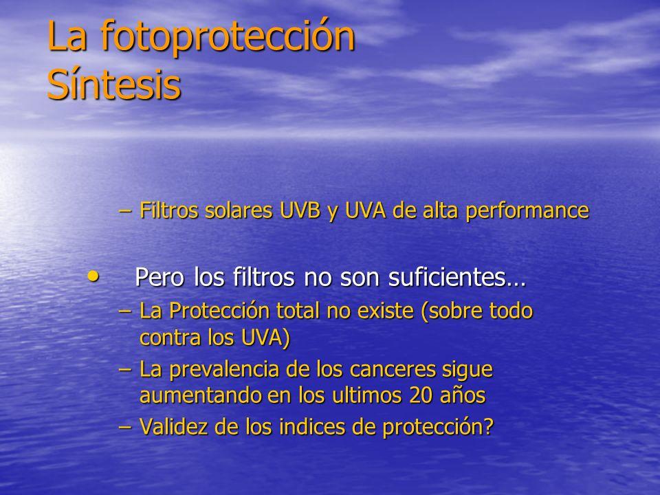 –Filtros solares UVB y UVA de alta performance Pero los filtros no son suficientes… Pero los filtros no son suficientes… –La Protección total no exist