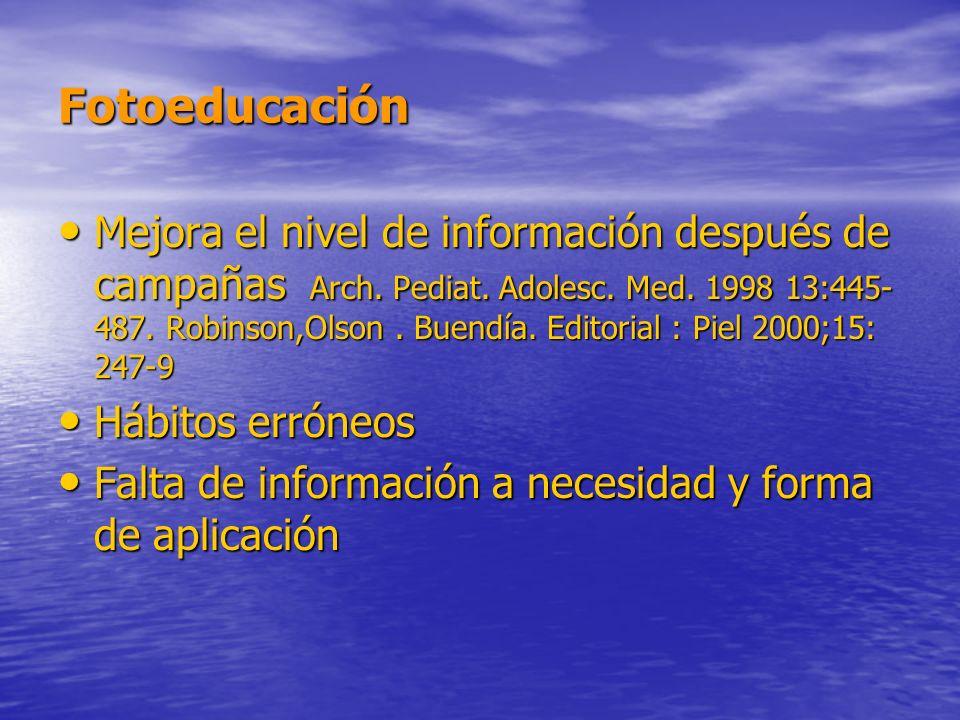 Fotoeducación Mejora el nivel de información después de campañas Arch. Pediat. Adolesc. Med. 1998 13:445- 487. Robinson,Olson. Buendía. Editorial : Pi