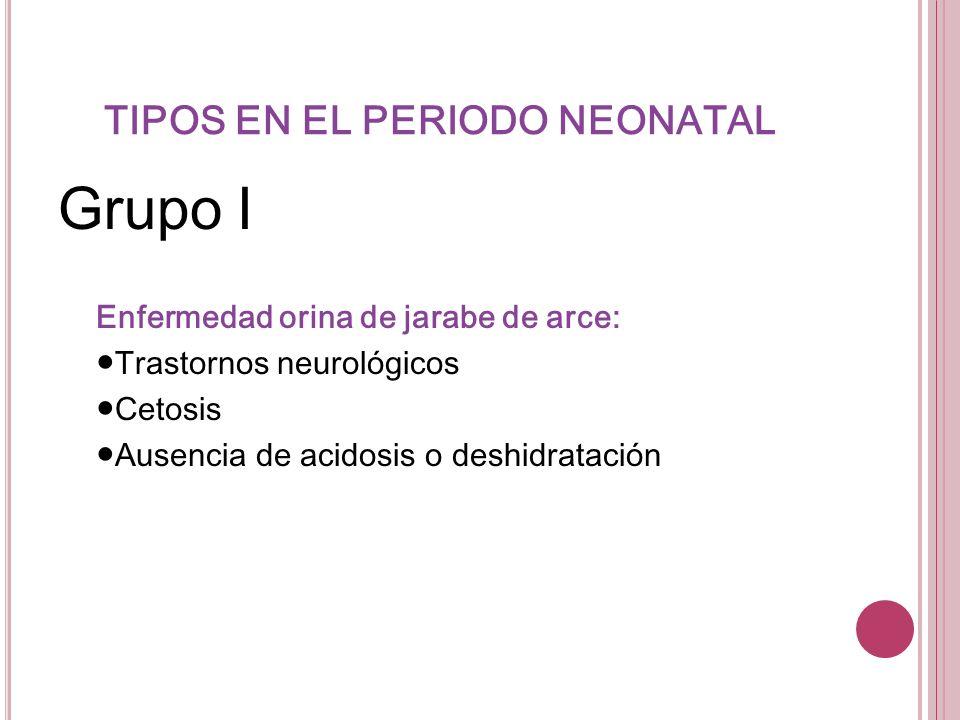 TIPOS EN EL PERIODO NEONATAL Grupo I Enfermedad orina de jarabe de arce: Trastornos neurológicos Cetosis Ausencia de acidosis o deshidratación