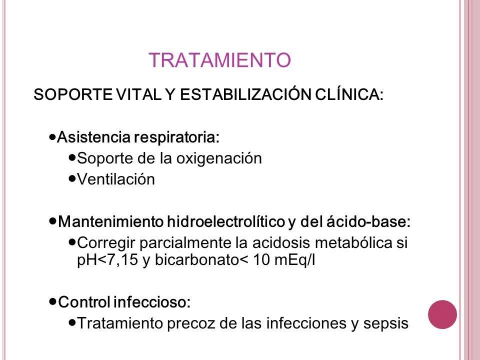 TRATAMIENTO SOPORTE VITAL Y ESTABILIZACIÓN CLÍNICA: Asistencia respiratoria: Soporte de la oxigenación Ventilación Mantenimiento hidroelectrolítico y