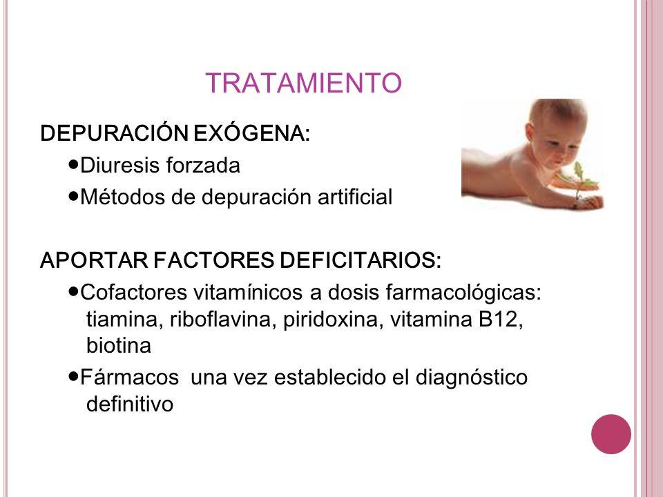 TRATAMIENTO DEPURACIÓN EXÓGENA: Diuresis forzada Métodos de depuración artificial APORTAR FACTORES DEFICITARIOS: Cofactores vitamínicos a dosis farmac