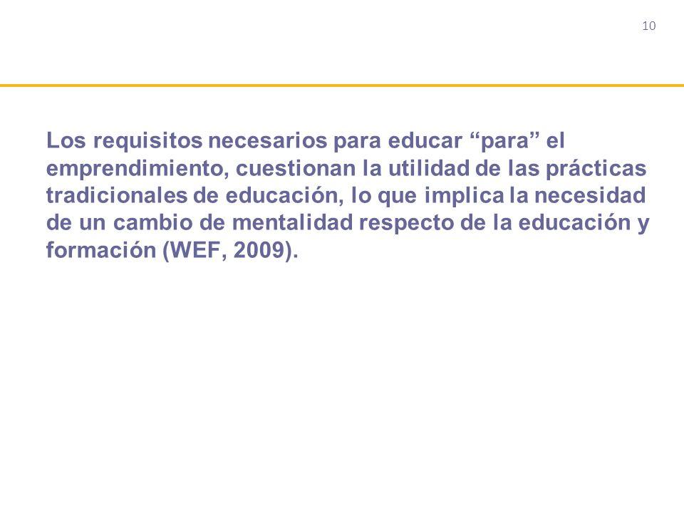 10 Los requisitos necesarios para educar para el emprendimiento, cuestionan la utilidad de las prácticas tradicionales de educación, lo que implica la necesidad de un cambio de mentalidad respecto de la educación y formación (WEF, 2009).