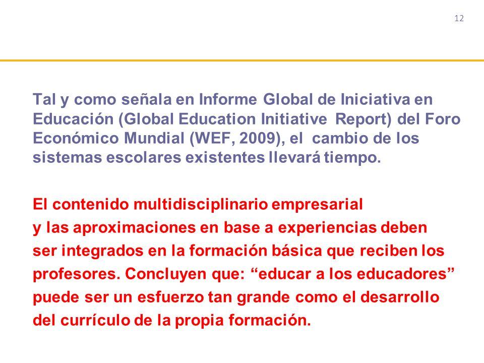 12 Tal y como señala en Informe Global de Iniciativa en Educación (Global Education Initiative Report) del Foro Económico Mundial (WEF, 2009), el cambio de los sistemas escolares existentes llevará tiempo.