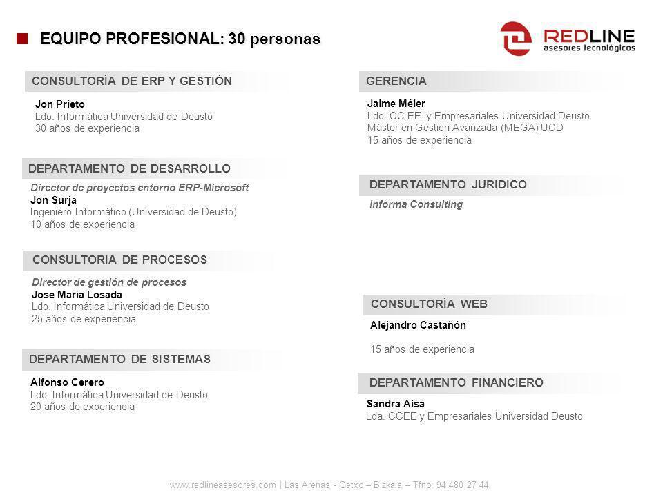 www.redlineasesores.com | Las Arenas - Getxo – Bizkaia – Tfno: 94 480 27 44 CONSULTORÍA DE ERP Y GESTIÓN Jon Prieto Ldo. Informática Universidad de De