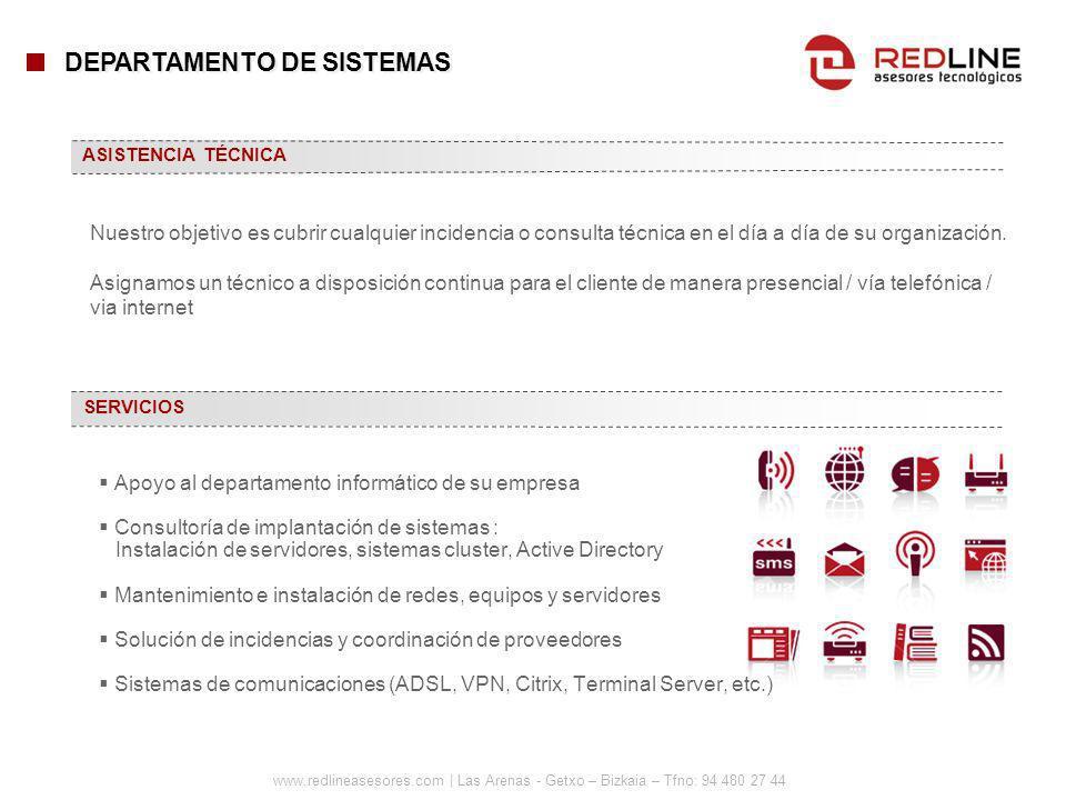 www.redlineasesores.com | Las Arenas - Getxo – Bizkaia – Tfno: 94 480 27 44 Apoyo al departamento informático de su empresa Consultoría de implantació