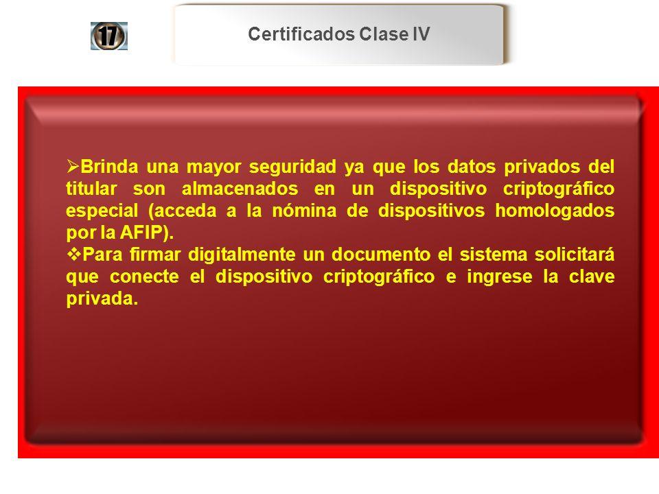 Certificados Clase IV Brinda una mayor seguridad ya que los datos privados del titular son almacenados en un dispositivo criptográfico especial (acced