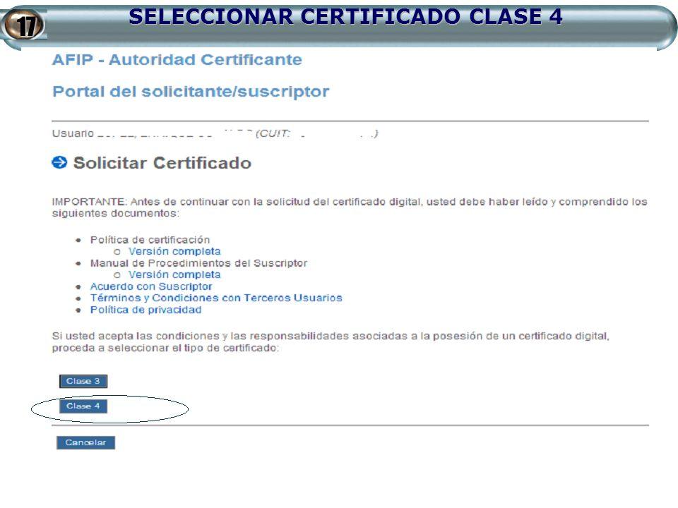 SELECCIONAR CERTIFICADO CLASE 4 17