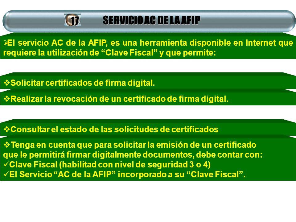 SERVICIO AC DE LA AFIP El servicio AC de la AFIP, es una herramienta disponible en Internet que requiere la utilización de Clave Fiscal y que permite: