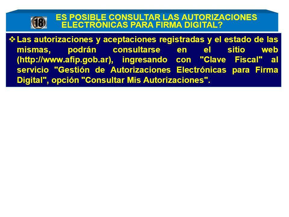 Las autorizaciones y aceptaciones registradas y el estado de las mismas, podrán consultarse en el sitio web (http://www.afip.gob.ar), ingresando con