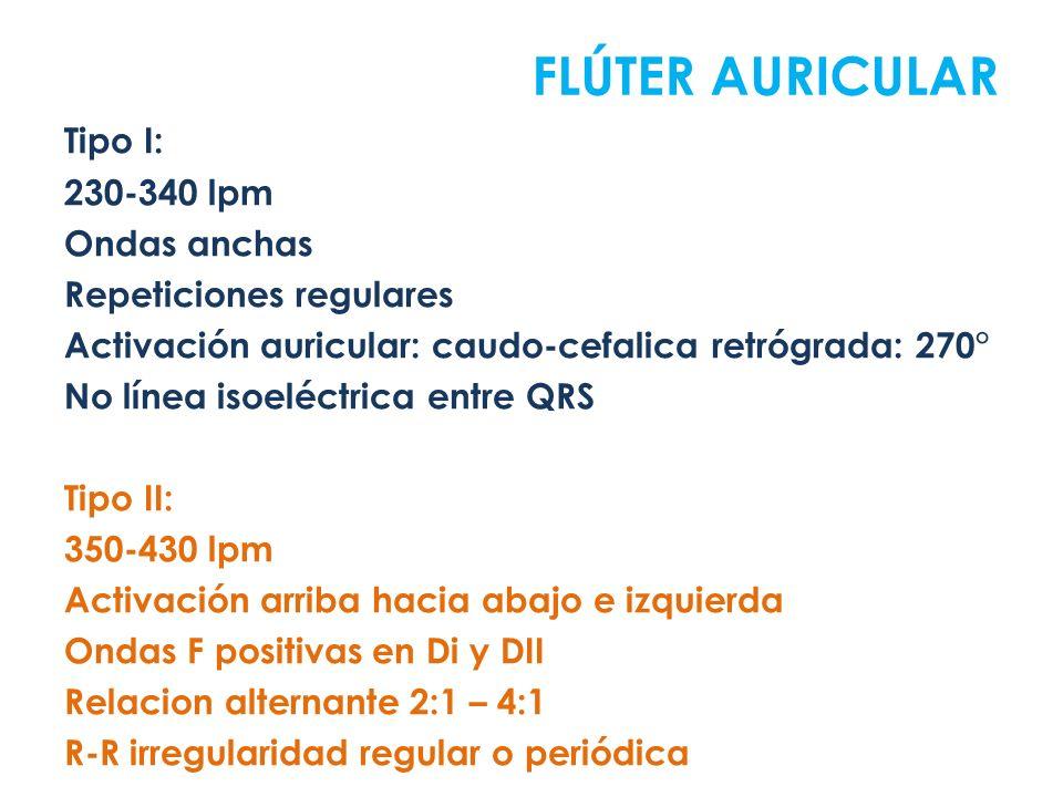 Tipo I: 230-340 lpm Ondas anchas Repeticiones regulares Activación auricular: caudo-cefalica retrógrada: 270° No línea isoeléctrica entre QRS Tipo II: