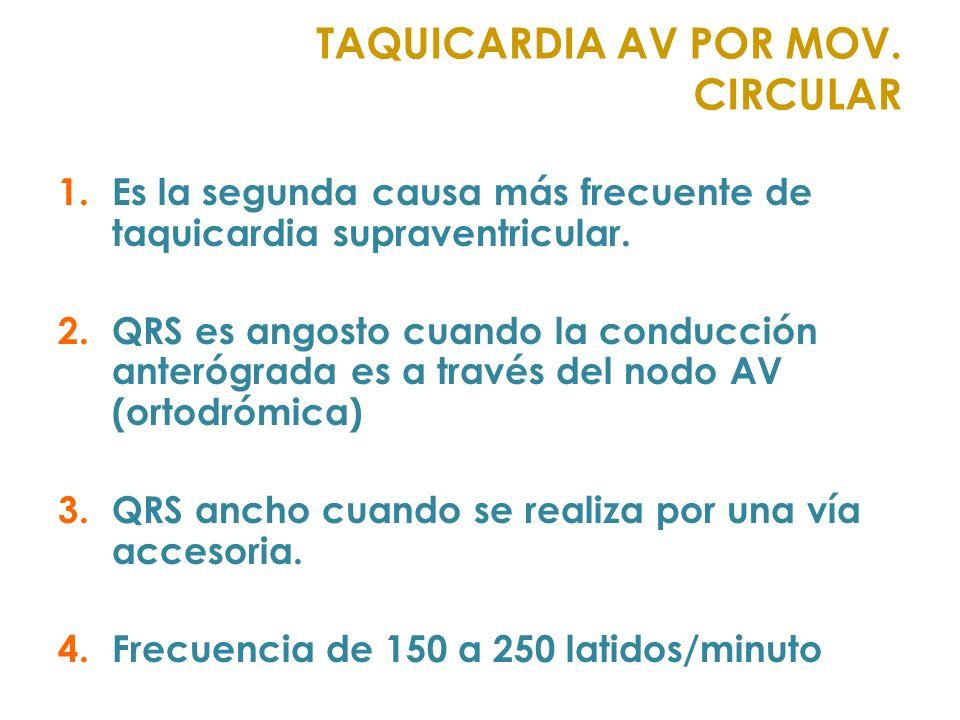 1.Es la segunda causa más frecuente de taquicardia supraventricular. 2.QRS es angosto cuando la conducción anterógrada es a través del nodo AV (ortodr