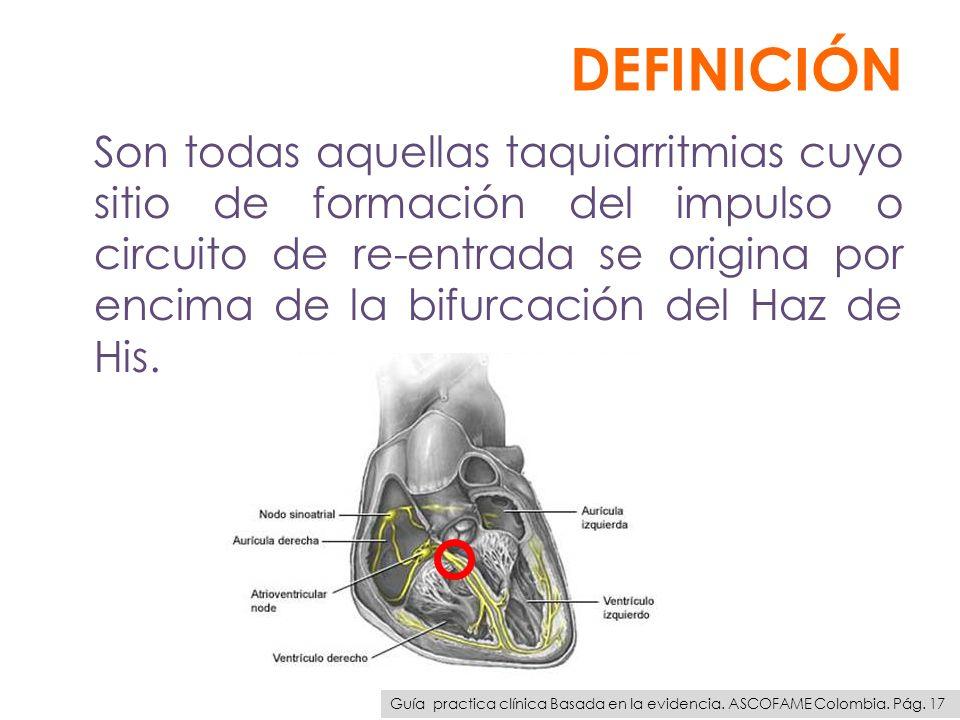 DEFINICIÓN Son todas aquellas taquiarritmias cuyo sitio de formación del impulso o circuito de re-entrada se origina por encima de la bifurcación del