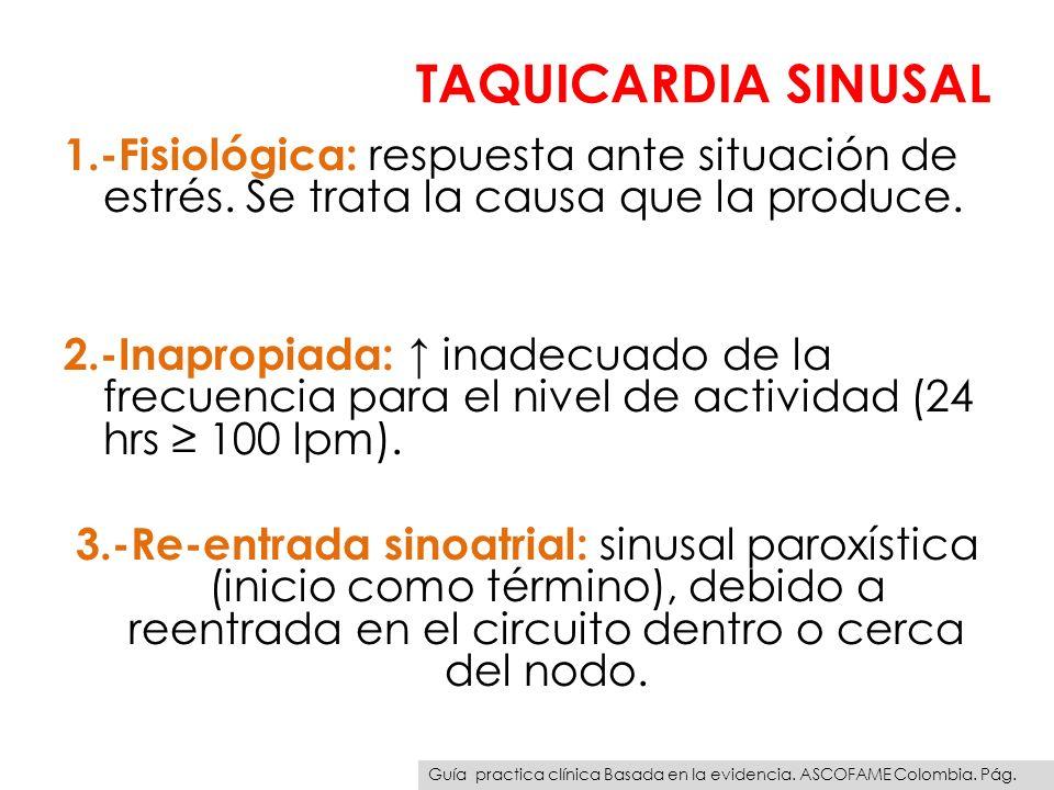TAQUICARDIA SINUSAL 1.-Fisiológica: respuesta ante situación de estrés. Se trata la causa que la produce. 2.-Inapropiada: inadecuado de la frecuencia