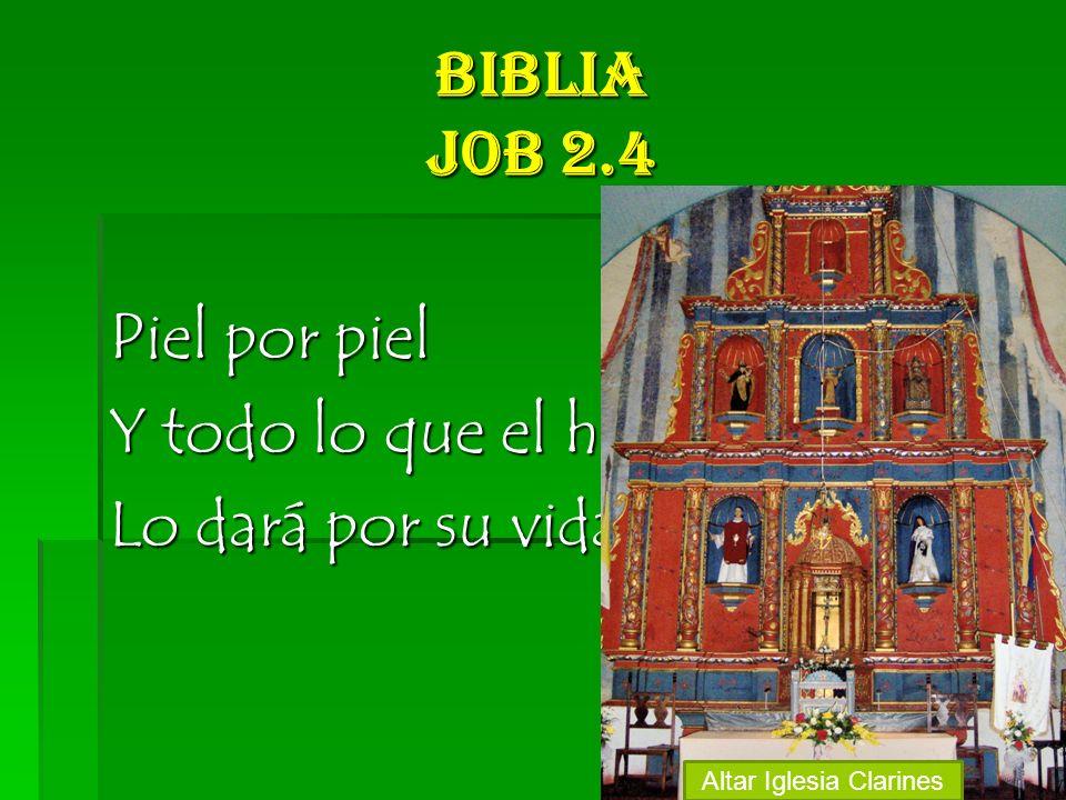 Biblia Job 2.4 Piel por piel Y todo lo que el hombre tiene Lo dará por su vida Altar Iglesia Clarines