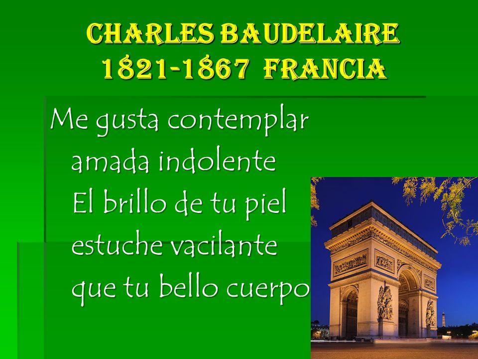 Charles Baudelaire 1821-1867 Francia Me gusta contemplar amada indolente amada indolente El brillo de tu piel El brillo de tu piel estuche vacilante estuche vacilante que tu bello cuerpo cubre que tu bello cuerpo cubre