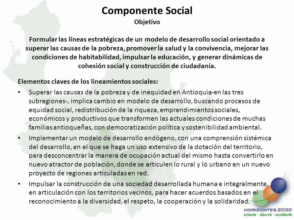 Componente Social Objetivo Formular las líneas estratégicas de un modelo de desarrollo social orientado a superar las causas de la pobreza, promover l