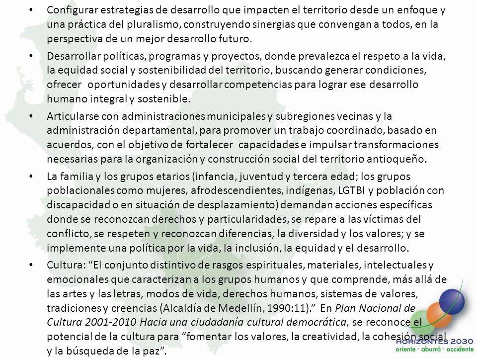 Componte Económico Objetivo Formular las líneas estratégicas de un modelo de desarrollo económico para la región conformada por algunos municipios próximos en la Región Central de Antioquia, con sus áreas rurales y urbanas, con base en un enfoque de competitividad sistémica e incluyente, y en un marco de sostenibilidad, que integre los esfuerzos hoy en marcha en materia de innovación, ciencia y tecnología, formación para el trabajo, desarrollo de circuitos económicos que produzcan una articulación equitativa, así como acceso a un empleo digno y a la generación de ingresos para el grupo familiar.