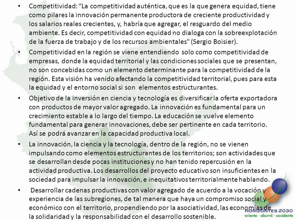 Competitividad: La competitividad auténtica, que es la que genera equidad, tiene como pilares la innovación permanente productora de creciente product