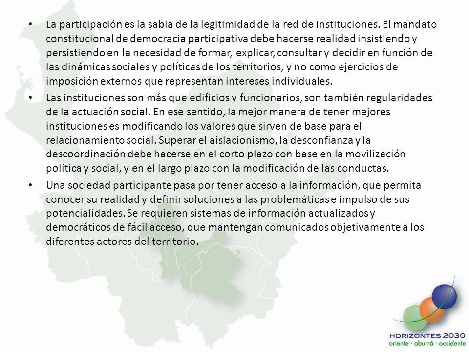La participación es la sabia de la legitimidad de la red de instituciones. El mandato constitucional de democracia participativa debe hacerse realidad