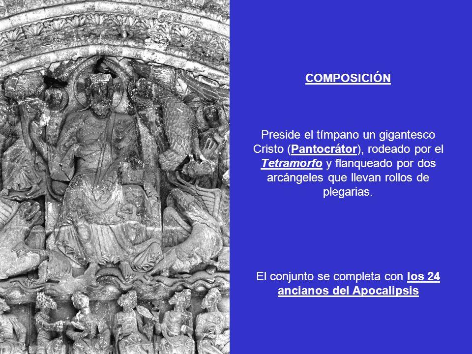 COMPOSICIÓN Preside el tímpano un gigantesco Cristo (Pantocrátor), rodeado por el Tetramorfo y flanqueado por dos arcángeles que llevan rollos de pleg