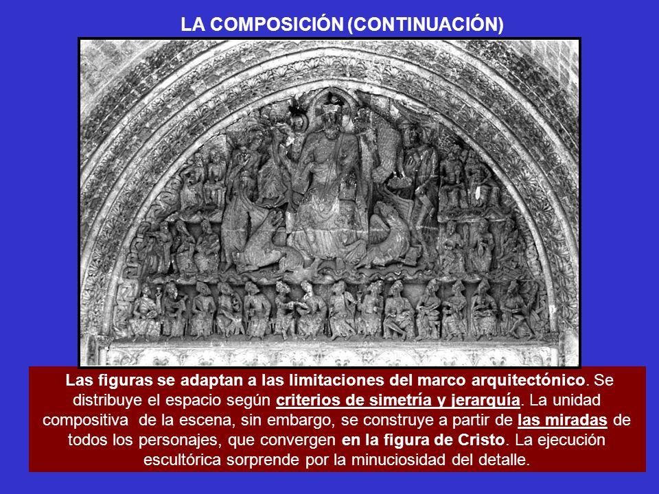 LA COMPOSICIÓN (CONTINUACIÓN) Las figuras se adaptan a las limitaciones del marco arquitectónico. Se distribuye el espacio según criterios de simetría
