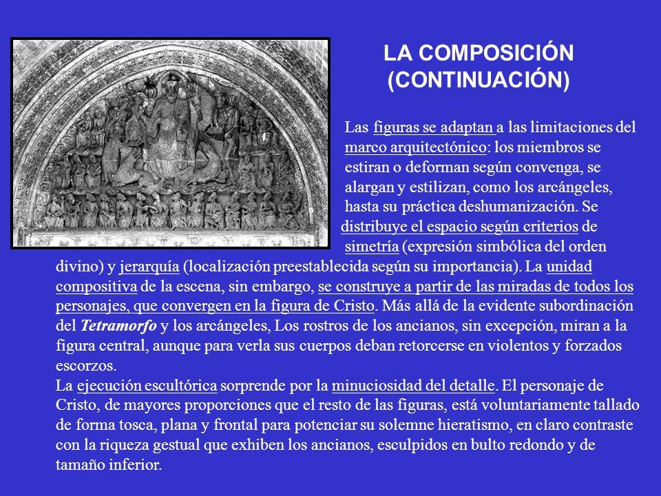 LA COMPOSICIÓN (CONTINUACIÓN) Las figuras se adaptan a las limitaciones del marco arquitectónico: los miembros se estiran o deforman según convenga, s