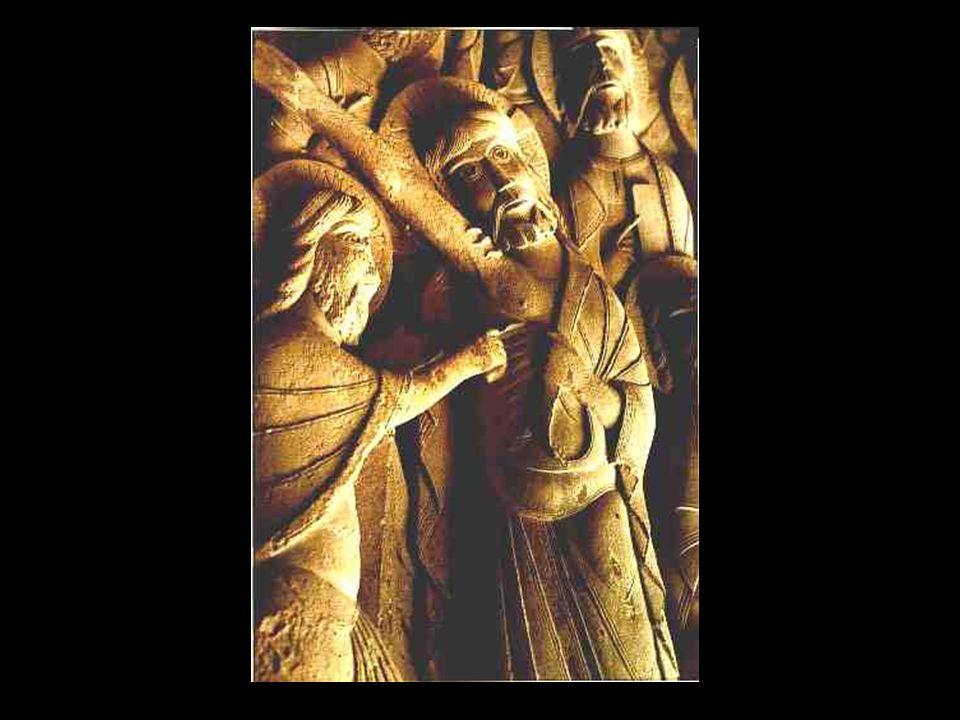 COMPOSICIÓN Preside el tímpano un gigantesco Cristo (Pantocrátor), rodeado por el Tetramorfo y flanqueado por dos arcángeles que llevan rollos de plegarias.