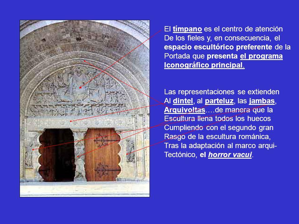 El tímpano es el centro de atención De los fieles y, en consecuencia, el espacio escultórico preferente de la Portada que presenta el programa Iconogr