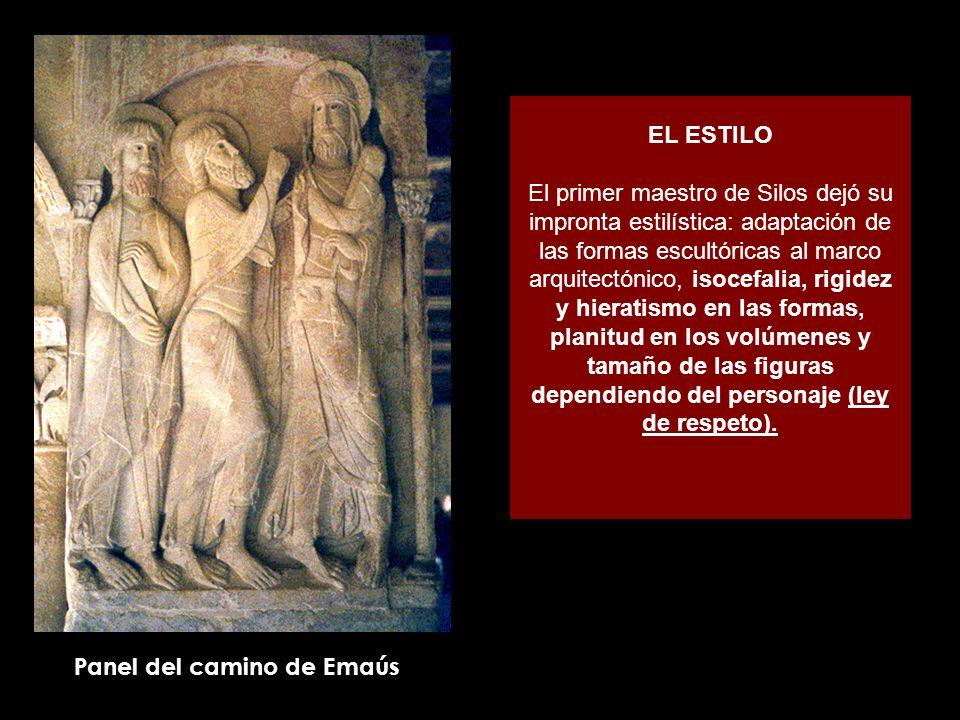 EL ESTILO El primer maestro de Silos dejó su impronta estilística: adaptación de las formas escultóricas al marco arquitectónico, isocefalia, rigidez