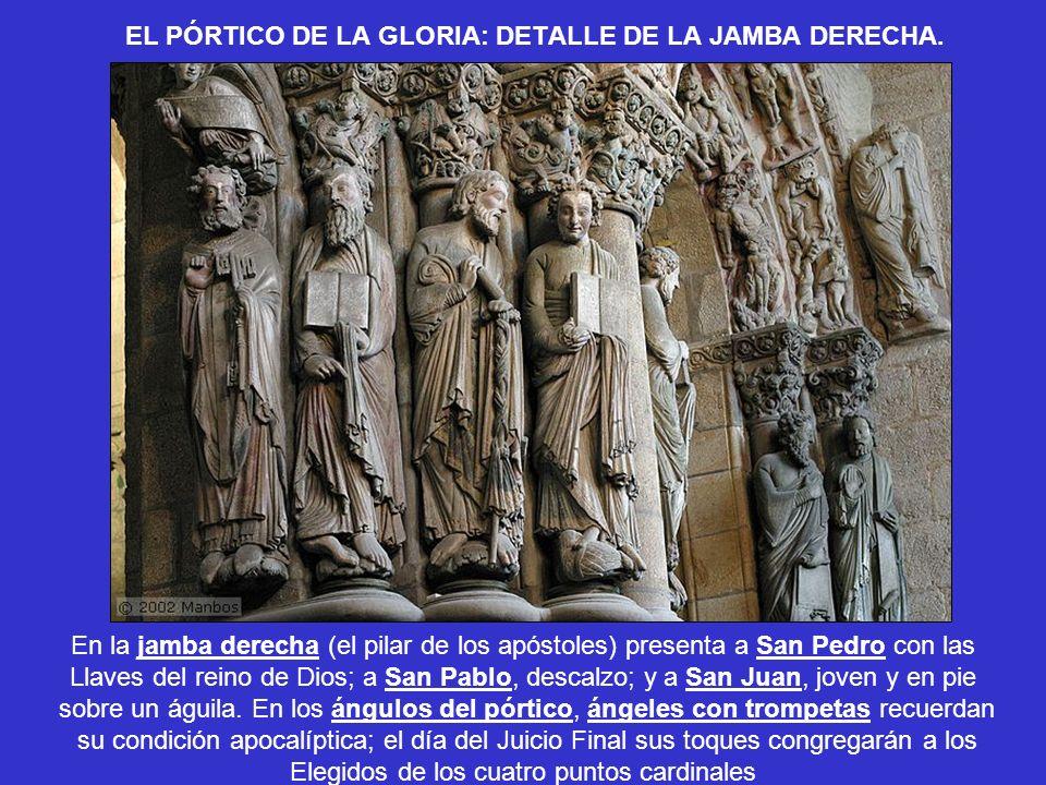 EL PÓRTICO DE LA GLORIA: DETALLE DE LA JAMBA DERECHA. En la jamba derecha (el pilar de los apóstoles) presenta a San Pedro con las Llaves del reino de