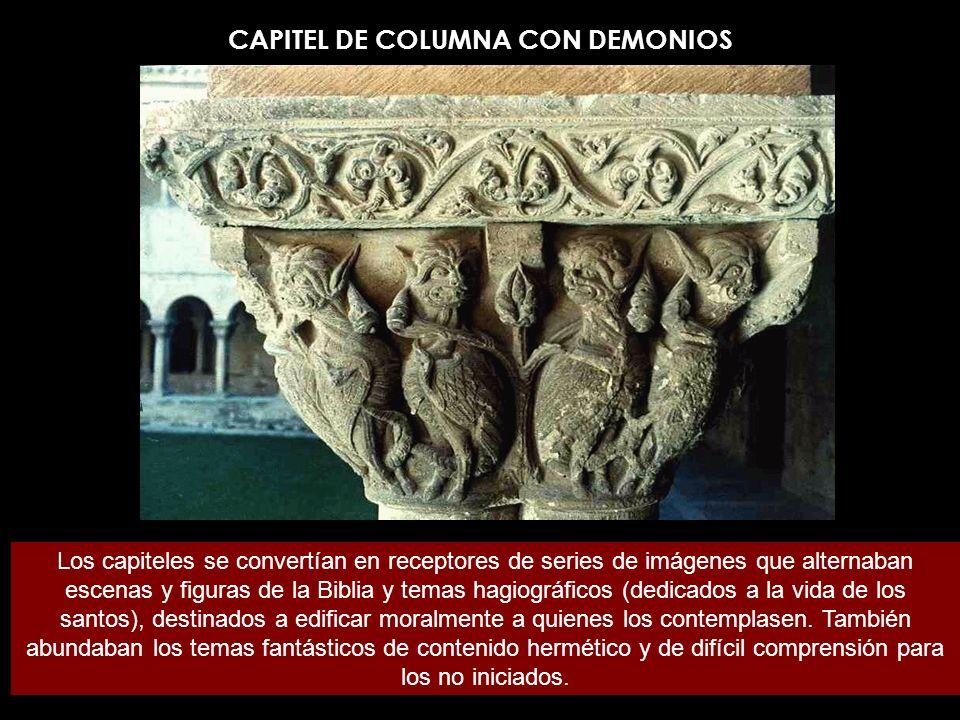 Capiteles del claustro de Silos Sus columnas pareadas están coronadas por capiteles románicos que representan hojas, caras, pájaros y bestias fantásticas.