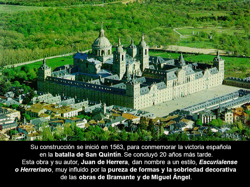 Vista general Su construcción se inició en 1563, para conmemorar la victoria española en la batalla de San Quintín. Se concluyó 20 años más tarde. Est