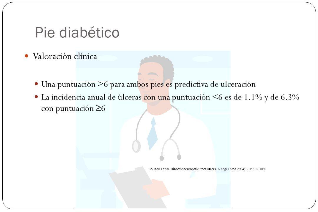 Pie diabético Valoración clínica Una puntuación >6 para ambos pies es predictiva de ulceración La incidencia anual de úlceras con una puntuación <6 es