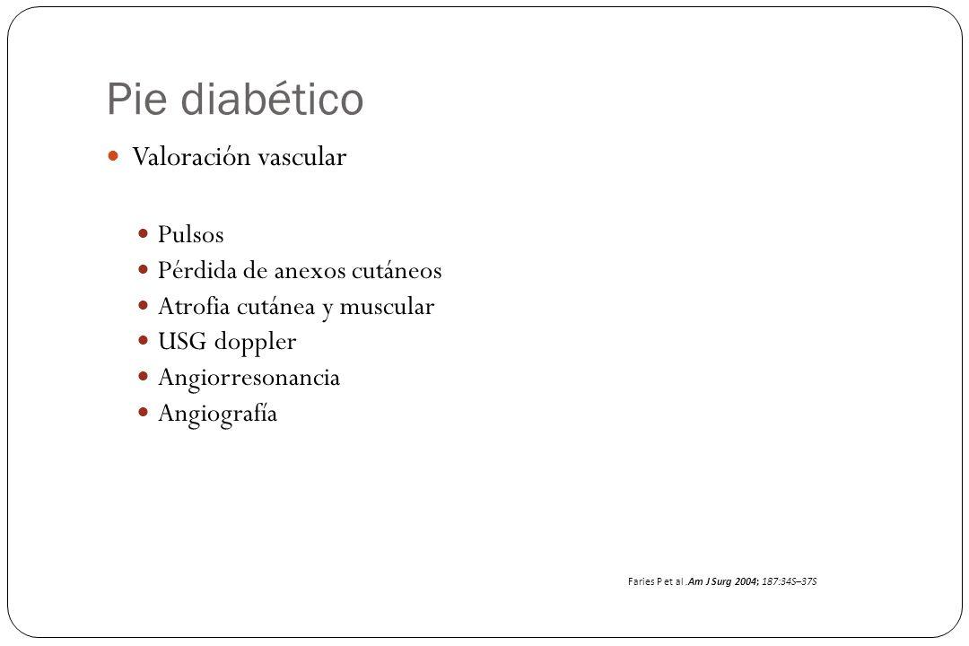 Pie diabético Valoración vascular Pulsos Pérdida de anexos cutáneos Atrofia cutánea y muscular USG doppler Angiorresonancia Angiografía Faries P et al