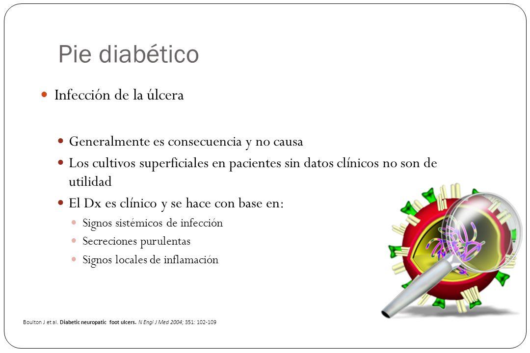 Pie diabético Infección de la úlcera Generalmente es consecuencia y no causa Los cultivos superficiales en pacientes sin datos clínicos no son de util