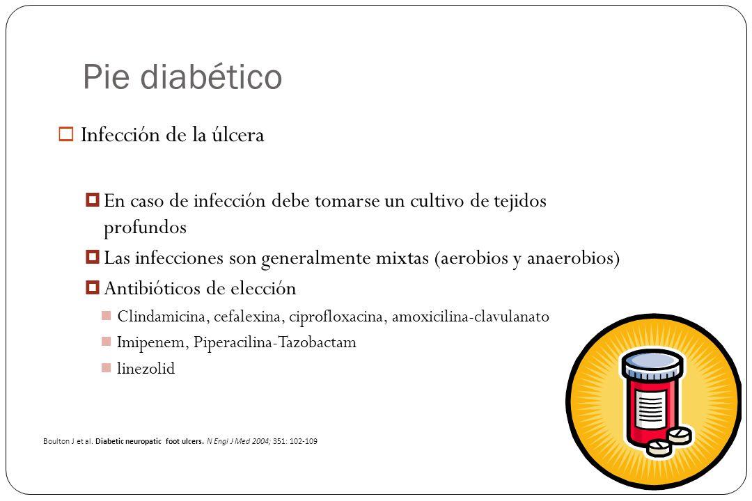 Pie diabético Infección de la úlcera En caso de infección debe tomarse un cultivo de tejidos profundos Las infecciones son generalmente mixtas (aerobi