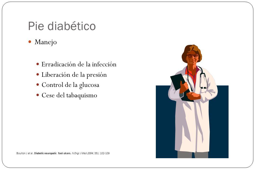 Pie diabético Manejo Erradicación de la infección Liberación de la presión Control de la glucosa Cese del tabaquismo Boulton J et al. Diabetic neuropa