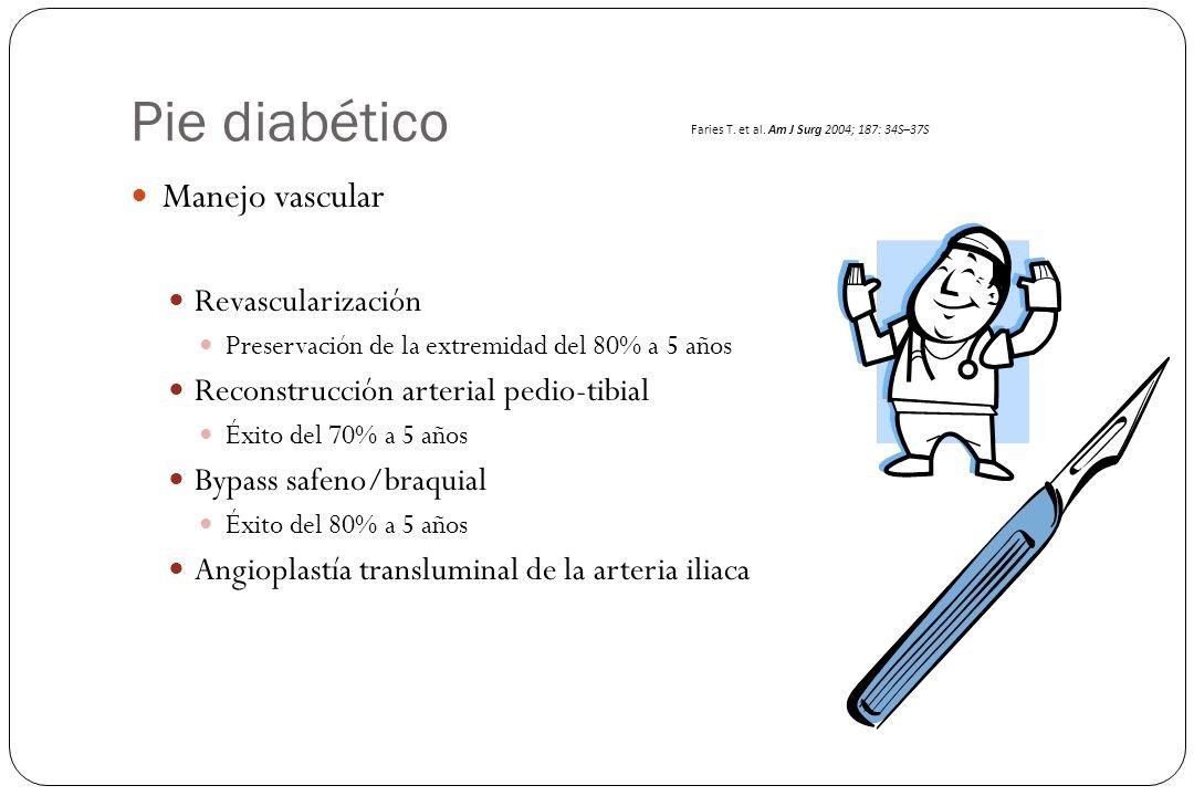 Pie diabético Manejo vascular Revascularización Preservación de la extremidad del 80% a 5 años Reconstrucción arterial pedio-tibial Éxito del 70% a 5