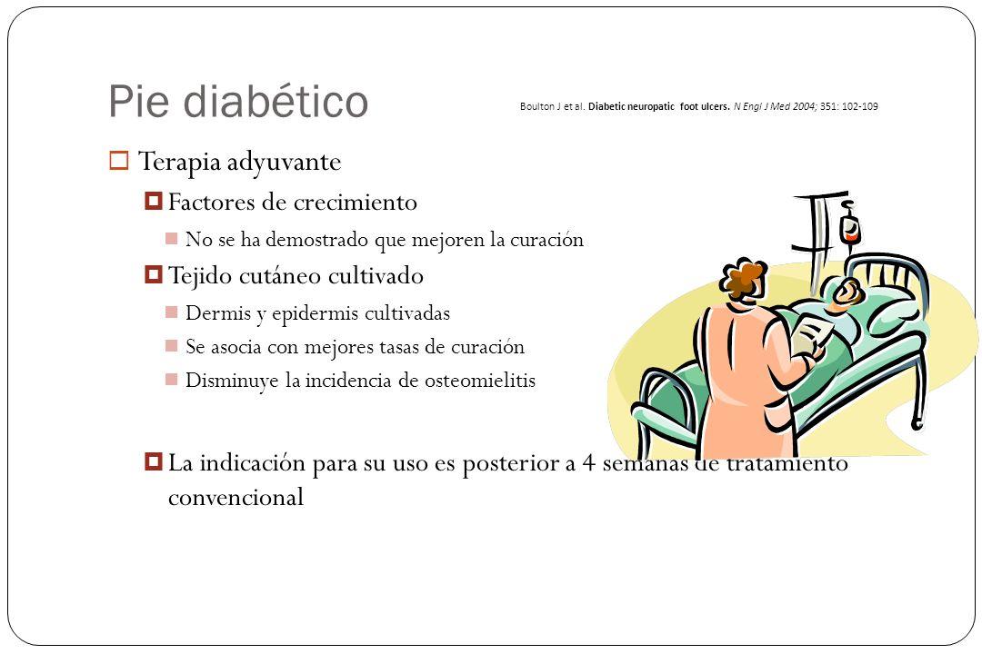 Pie diabético Terapia adyuvante Factores de crecimiento No se ha demostrado que mejoren la curación Tejido cutáneo cultivado Dermis y epidermis cultiv