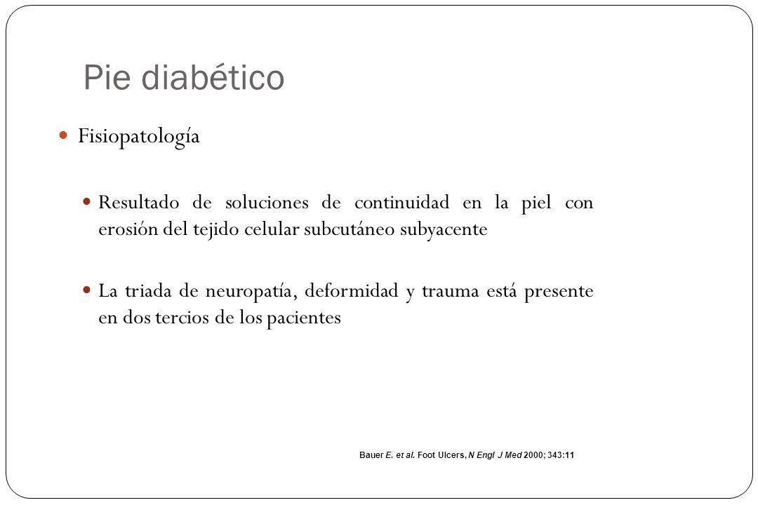 Pie diabético Infección de la úlcera Generalmente es consecuencia y no causa Los cultivos superficiales en pacientes sin datos clínicos no son de utilidad El Dx es clínico y se hace con base en: Signos sistémicos de infección Secreciones purulentas Signos locales de inflamación Boulton J et al.